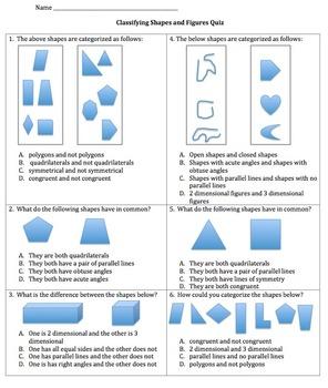 Geometry Classifying Shapes Quiz