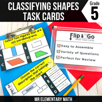 Geometry - Classifying 2D Shapes - 5th Grade Math Flip & Go Cards