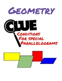 Geometry Clue - Conditions for Special Parallelgorams