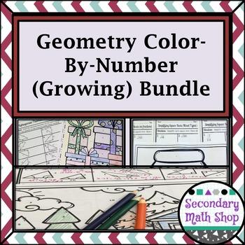 Geometry Color-By-Number Worksheet Growing Bundle!!!