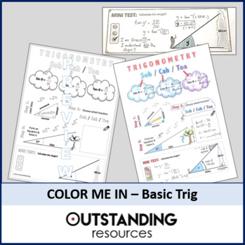 Color Me In Sheets (Doodle Notes) - SOH/CAH/TOA Basic TRIG