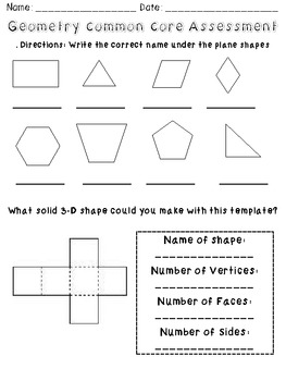 Geometry Common Core Assessment 2nd Grade