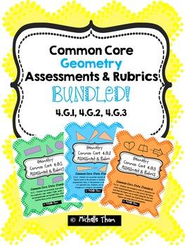 Geometry Common Core Assessments & Rubrics BUNDLED!  {4.G.