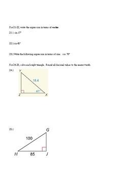 Geometry Common Core Trigonometry Test