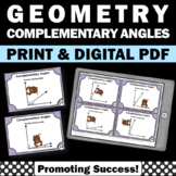 Complementary Angles Task Cards, Geometry Games, 7th Grade Math Review
