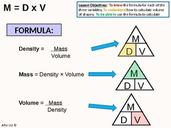 Geometry: Compound Measures 2 - Mass, Volume and Density (+ worksheet)