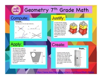 Geometry: Compute, Justify, Apply, Create  7th Grade Math