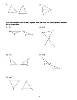 Geometry - Congruent Triangles - Homework Pack
