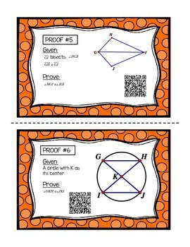 Geometry Congruent Triangles Proofs with QR Codes (Task Cards)