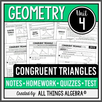 Congruent Triangles (Geometry Curriculum - Unit 4) by All ...