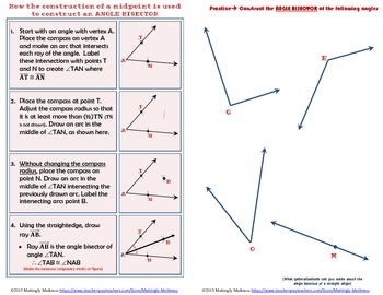 Geometry Construction Angle Bisectors and Incenters