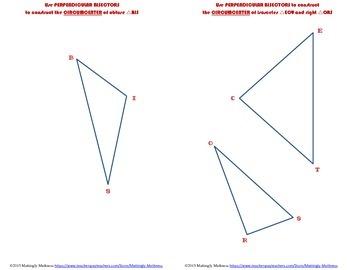 Geometry Construction Perpendicular Bisectors and Circumcenter