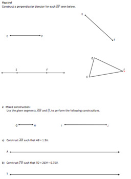 Geometry Constructions_Segment Bisector_Lesson 2 and Homework