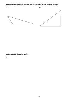 Geometry - Constructions - Homework Pack