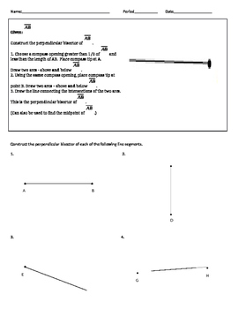 Geometry Constructions Worksheets and Review Guides
