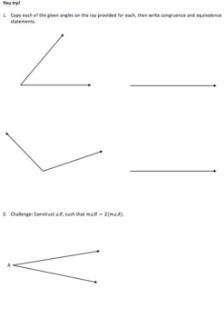 Geometry Constructions_Copy an Angle_Lesson 3 and Homework
