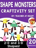 Geometry Shape Monsters Craftivity Set