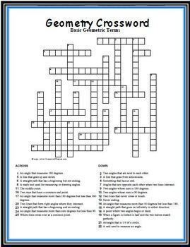 Geometry Crossword: 25 Clues (Definitions) that Emphasize Points, Lines & Angles