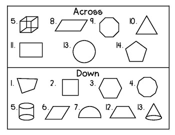 Geometry Crossword Puzzle (2- and 3-D Geometry)