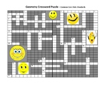 Geometry Crossword Puzzle - Common Core State Standard 4th