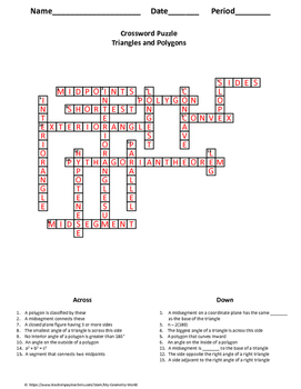 Geometry Crossword Puzzle: Triangles and Polygons