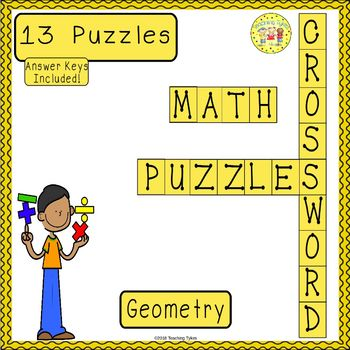 Geometry Crossword Puzzle Worksheets Teaching Resources TpT