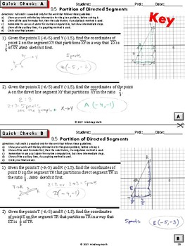 SEGMENT PARTITION (HS Geometry Curriculum in 5 min tasks/ warm-ups - Unit 9)