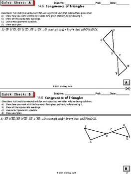 TRIANGLE CONGRUENCE CRITERIA (HS Geometry Curriculum Tasks / Warm-Ups - Unit 14)