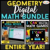 Geometry DIGITAL Math BUNDLE | Spiral Review, Quizzes, Gam