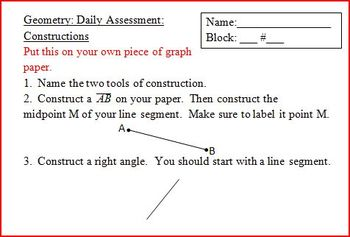Geometry Daily Assessment: Constructions (Editable)