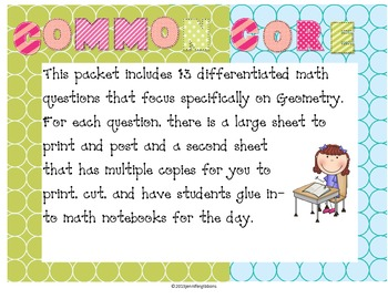 Geometry Daily Math Questions: Common Core & Differentiated