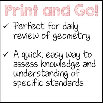 Geometry Daily Math Review 3rd Grade Bell Ringers Warm ups Freebie
