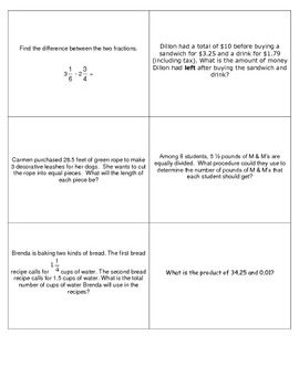 Geometry, Data, Algebra, and Number Sense Review Game - PDF
