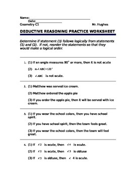 Deductive Reasoning Worksheets Geometry | Teachers Pay Teachers