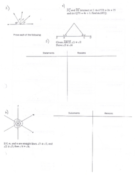 Geometry: Definitions Involving Pairs of Angles (adjacent complimentary)