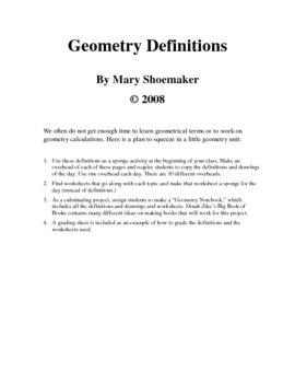 Geometry Definitions Project
