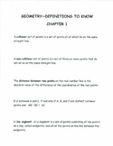 Geometry-Definitions to know Chapter 1