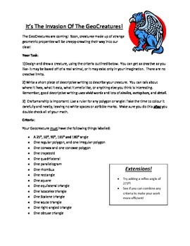 Geometry Design Challenge and Creative Writing Project- Ge