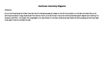 Geometry Diagram Domino Activity