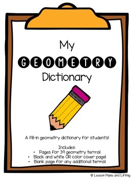 Geometry Dictionary - A Fill-In Dictionary for Students