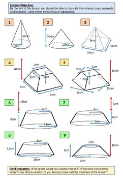 Geometry: Differentiated Worksheet on Frustums