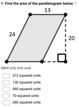 Geometry Digital Question BANK 20 - Area of Parallelograms & Trapezoids
