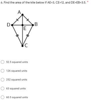 Geometry Digital Question BANK 21 - Area of Rhombuses & Kites