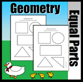 Geometry Dividing Shapes Into Equal Parts (Hands On Sheet,