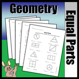 Geometry Dividing Shapes Into Equal Parts (Worksheet & Ass