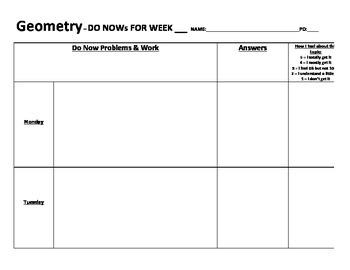 Geometry Do Nows Worksheet
