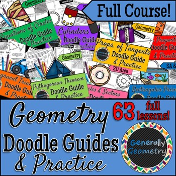 Geometry Doodle Guides & Practice Worksheets: Full Course Set!