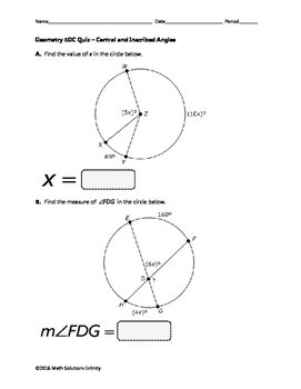 Geometry EOC Quiz - Central and Inscribed Angles BUNDLE