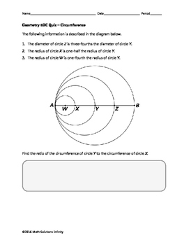 Geometry EOC Quiz - Circumference BUNDLE
