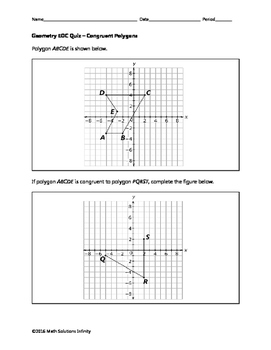 Geometry EOC Quiz - Congruent Polygons BUNDLE